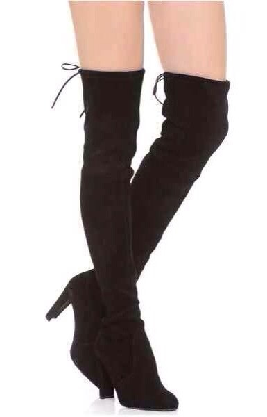 hongkong post! f584 40 black genuine leather thigh laced heels boots<br><br>Aliexpress