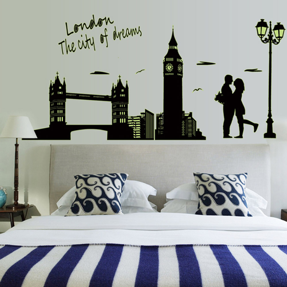 Removable Luminous Wall Sticker London Clock Tower DIY Wallpaper Art Decals Mural for Room Decal 60 * 90cm(China (Mainland))