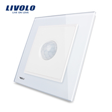 Manufacturer, Livolo New Human Induction Switch, White Crystal Glass Panel, AC 110~250V Home Wall Light Switch VL-W291RG-12(China (Mainland))