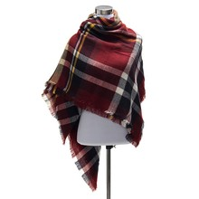 100pcs/lot scarfs fashionable Za Fashion Winter Women Cashmere Plaid Tartan Blanket Scarf Pashmina Scarves Shawl Wholesale A100
