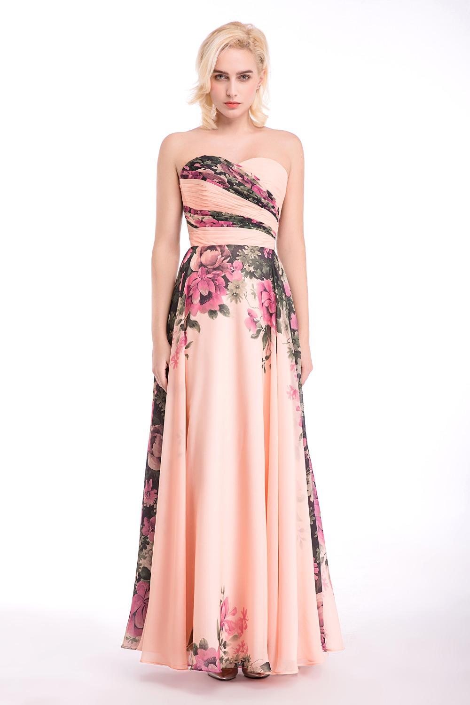 Floral Print Long Bridesmaid Dress Wedding Party Dress For Bridesmaids Sweetheart Maxi Pink Bridesmaid Dress(China (Mainland))