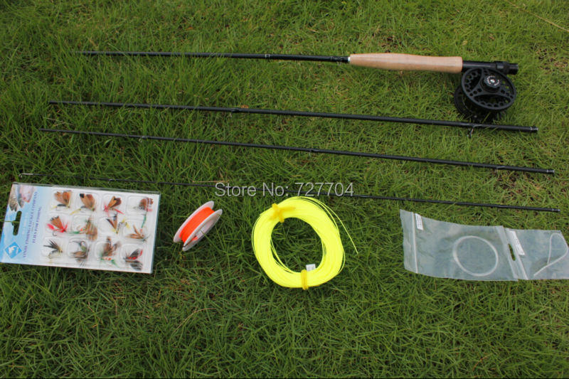 Free shipping fly fishing rod suit 100% carbon 2.7m 5/6# rod fishing reel and line and lure(China (Mainland))