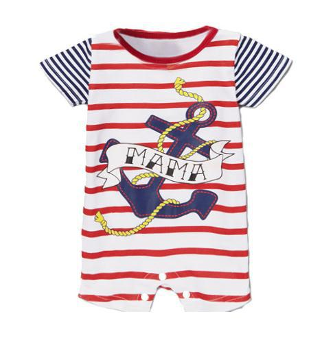 2015 new summer baby clothing rompers newborn girls boys tie bow Stripe Anchor short-sleeved hello kitty panda Jumpsuits clothes(China (Mainland))