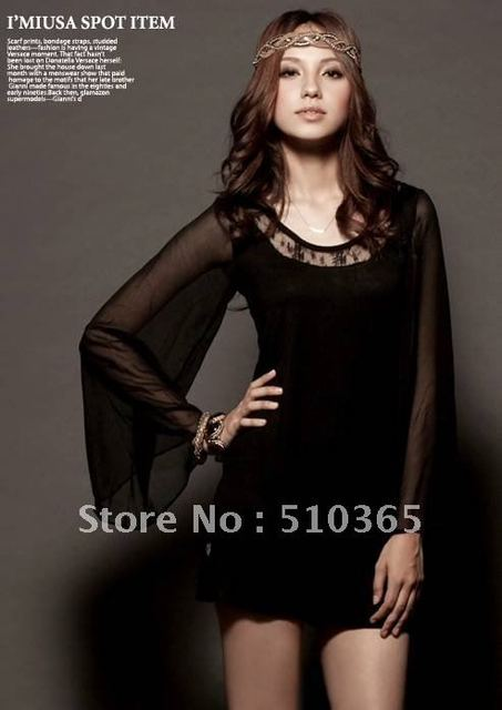 Free shipping korean style  Women's Sexy Single Naked Shoulder Bell Sleeve Chiffon Cocktail Party Dress