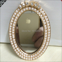 Pearl Decorated Best Birthday Gift Lover Gift One Side Lady Makeup One Side Compact Mirror(China (Mainland))
