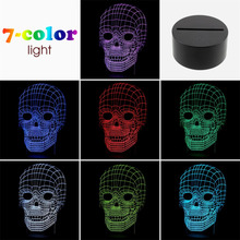 Newest for pc usb light 3D Skull Illusion Lamp LED Table Desk Lamp Decor In Stock!!Best Selling and Most Popular In 2016!!!(China (Mainland))