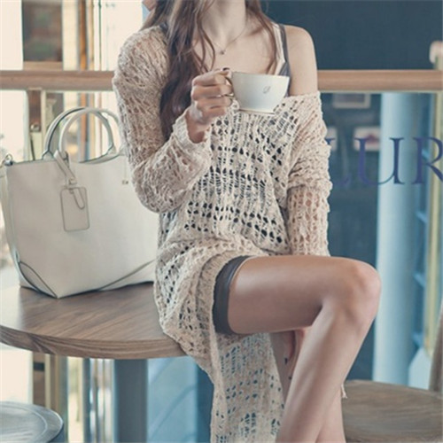 2015 New Long Beach Cover up Crochet Bikini Swimwear Pareo Long Sleeve Tunic Sarong Clothing For Beach Dress Sexy Bathing Suit(China (Mainland))