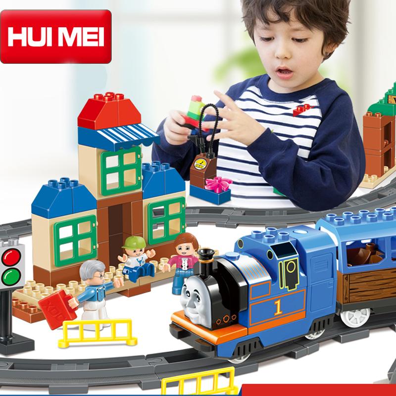 Kids Toys Building Blocks Assembled toy Minifigures large particles blocks puzzle bricks Electric Thomas train blocks 103 pcs