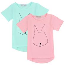 2016 Cotton Children T Shirts Rabbit Print Short Sleeves Kids Boy's Girls T Shirt 2 Colors boys clothing Free Shipping 66(China (Mainland))