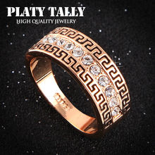 PTR341 Hot Sell Elegant 18K Champagne Gold Plated Wedding Ring Made with Genuine Austrian Crystals Full Sizes Wholesale(China (Mainland))
