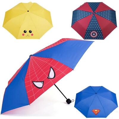 Parasol New 2015 creative Three-folding Children Student Umbrella Spiderman Prime Cartoon Paraguas Animal Handle(China (Mainland))