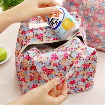 2015 New Lunch Bag Pouch Storage Box Flowers Insulated Thermal Bento Cooler Picnic Tote High Quality Free Shipping N563