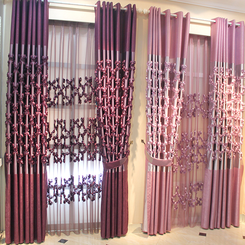 Purple Pink 3d Roses Window Blackout Cloth Voile Tulle