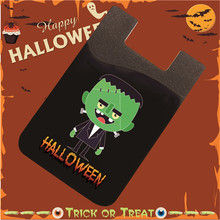Halloween Stick On Wallet Flexible Pouch Bag Silicone Card Pocket Card Holder Universal Size For iphone 6s,6,5,S6, S5#Figure A(China (Mainland))
