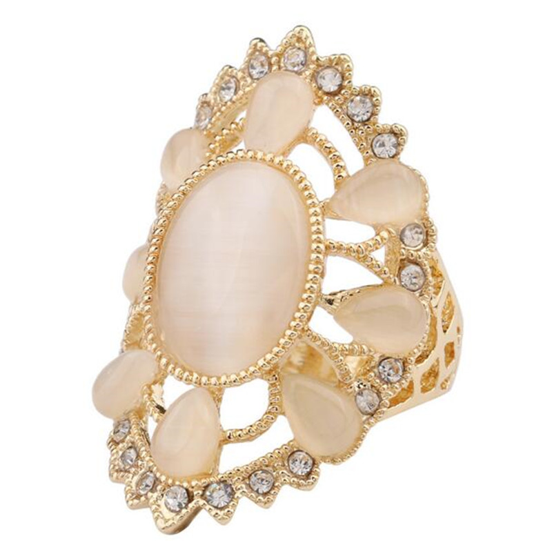 18K Gold Plated White Opal Ring Fashion Simple Hollow Rhinestone Opal Wedding Ring Jewelry(China (Mainland))