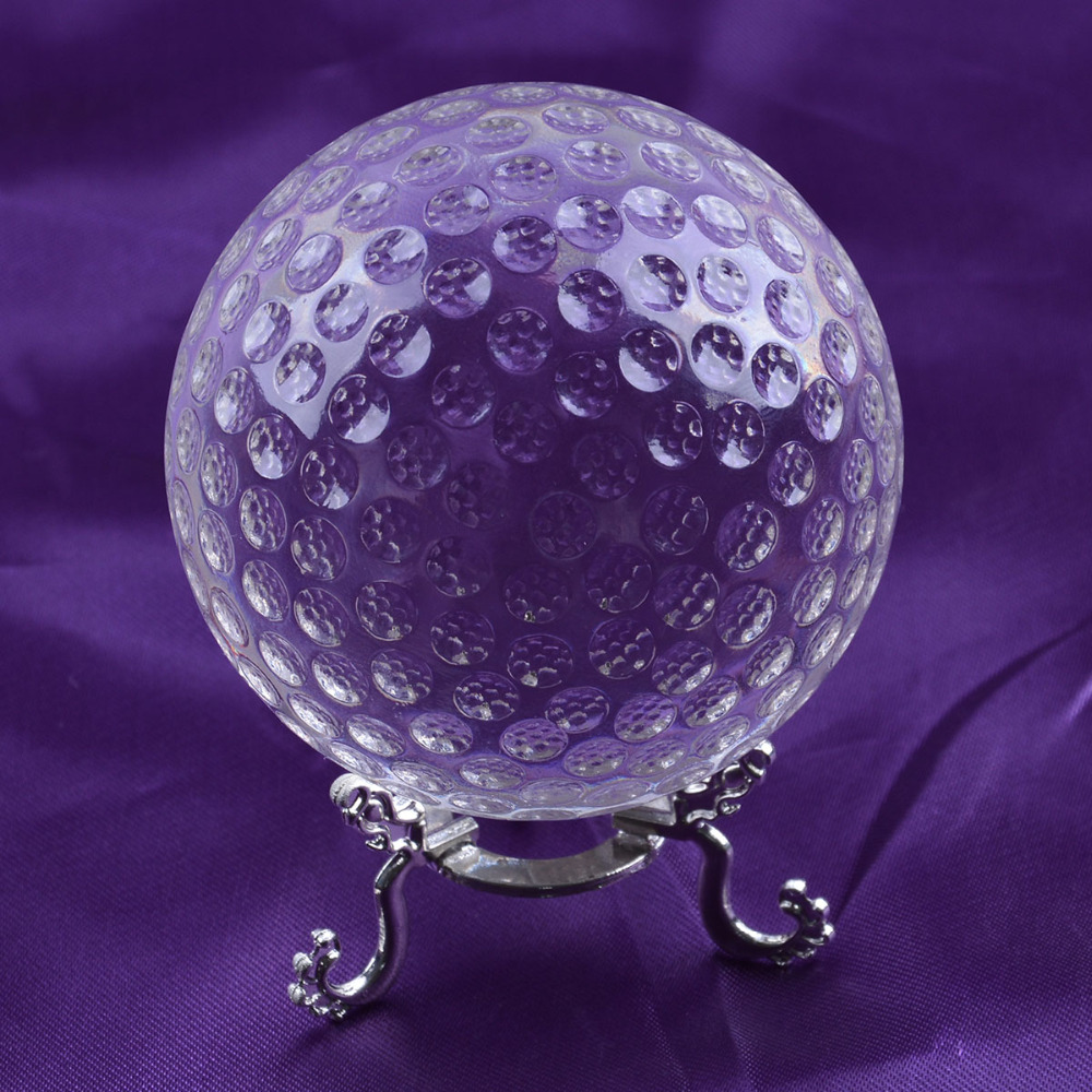 New! 2015 hot sell 80mm clear k9 crystal golf ball with alloy base quartz crystal ball spheres(China (Mainland))