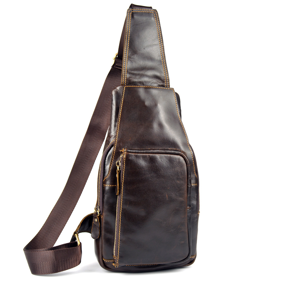 genuine leather new arrival small messenger bags for men chest pack crossbody single shoulder bags male cowhide handbags