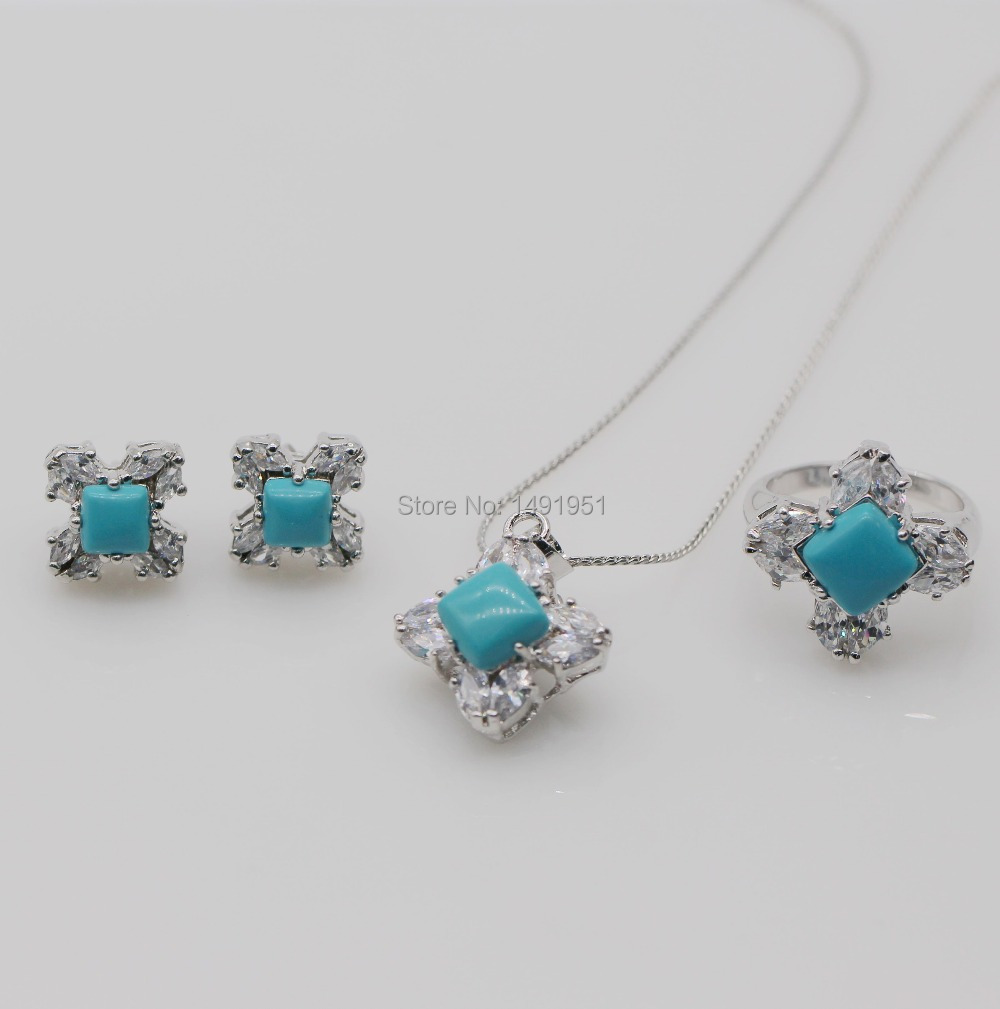 Exquisite Jewelry Set 18kt Gold Plated Round Turquoise AAA CZ Earrings Ring Pendant Necklace Set(China (Mainland))