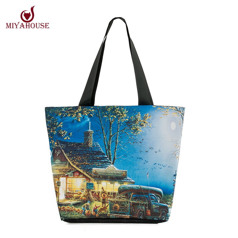 New Arrival Female Canvas Beach Bag Landscape Pritned Shopping Bag Casual Women Canvas Shoulder Bags Daily Use Woman Canvas Tote(China (Mainland))