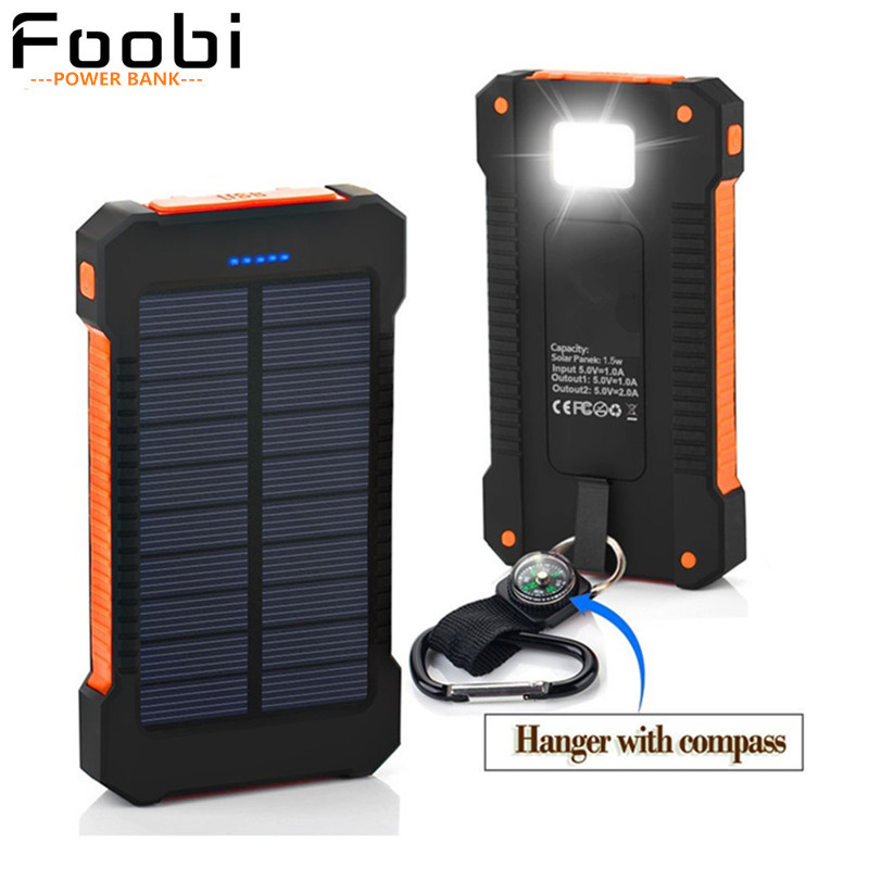 Solar power bank waterproof Portable Power 16000mA dual interface rechargeable external battery for all phones with LED(China (Mainland))
