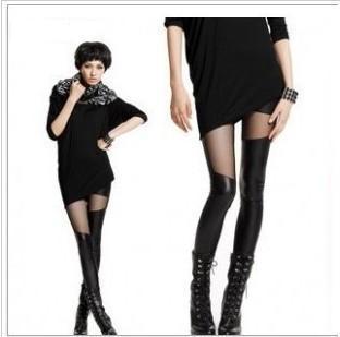 20% Discount 2013 PU Leather Grenadine Montage Women Leggings Sexy Black Slim Stitching Elasticity Waist Small Cuff 1PC(China (Mainland))