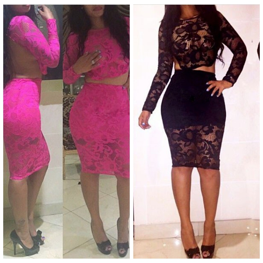 Summer Style Lace Bodycon Dress 2 Piece Set Women Bandage Two Outfits Black Sexy Open Back Party Night Club Dresses - ChenXin Fashion Store store