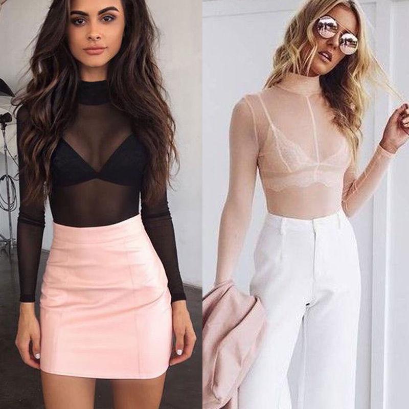 Womens Long Sleeve Shirt Lace Mesh Blouse Black Slim Top Summer New UK