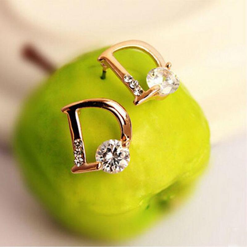 2014 Europe High-Quality D Letter Women Stud Earrings Crystal All-Match Channel Earrings For Women Luxury Jewelry Accessories<br><br>Aliexpress