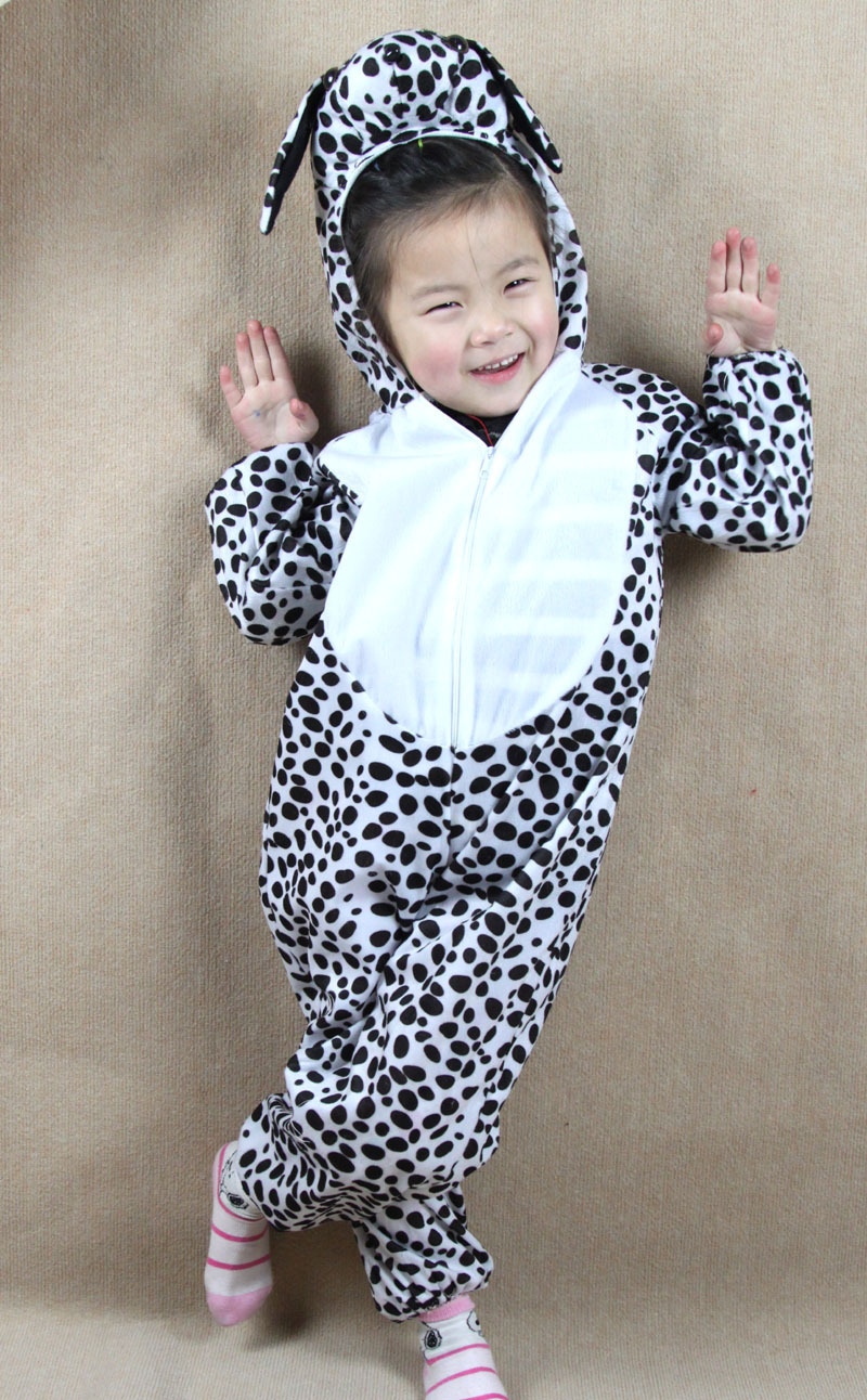 Children Kids Toddler Cartoon Animals Dalmatian Dog Costume Performance Clothes Children's Day Halloween Costume Jumpsuit(China (Mainland))