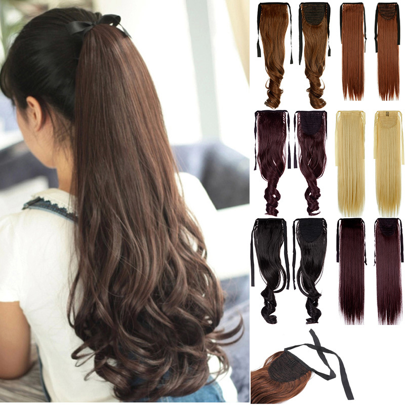 """Woman Ponytail Fashion Hairpiece 18"""" 45cm Long Banding Curly Synthetic Hair Lady Ponytails Hairs Extension Girls Pony Tail(China (Mainland))"""