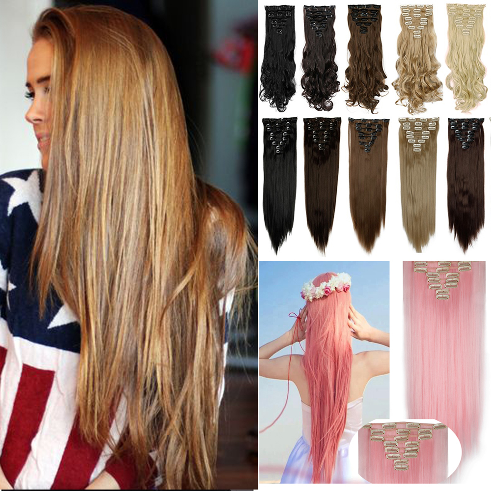 8pcs/set 26 170g 18Clips in Hair Extensions 16Colors Synthetic Hairpiece Fake Hair Styling Purple Blue Straight Hair Piece<br><br>Aliexpress