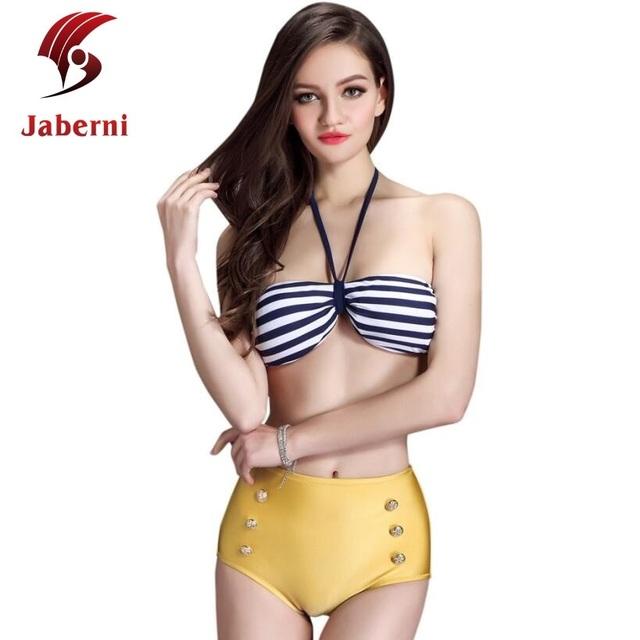 Люксовый бренд золотой основания купальники кнопки высокая талия росту полосой ремень бикини сексуальная ретро купальный костюм плавание купальник