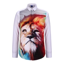 New Lion Portrait 3D Print Shirts rainbow Animal Slim Fit Man Long Sleeve Cotton Casual Clothes Shirt For Mens Hip Hop Spring