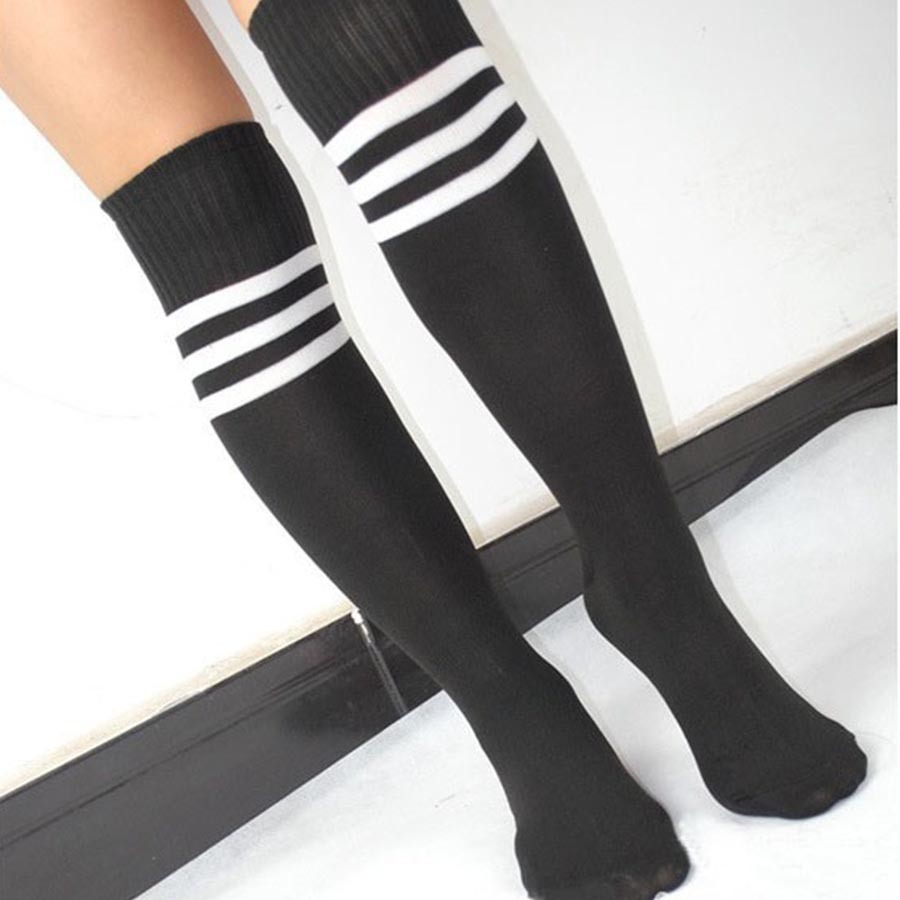 6 Colors Men/Women Summer Thin Sports Tube Socks Breathable Cotton Striped Soccer Long Tube Socks Lady High Knee Barreled Sock(China (Mainland))