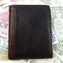 Luxury Brand Vintage Design 100 Genuine Crazy Horse Cowhide Leather Men Short Wallet Card Holder With