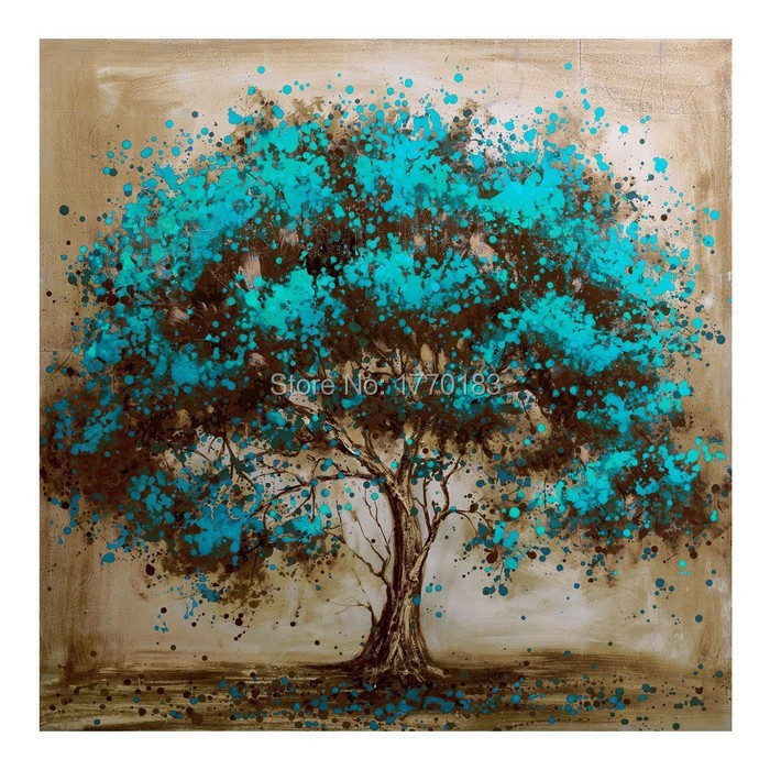 Hand painted large square cheap blue green mural oil for Abstract mural painting