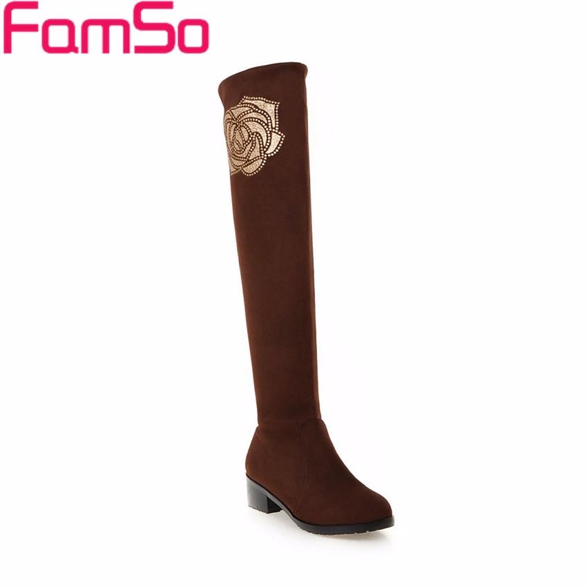 ซื้อ ขนาดบวก34-42 2016ใหม่สไตล์R Etroผู้หญิงบู๊ทส์สีดำสีน้ำตาลกว่าเข่ารองเท้าดอกไม้รองเท้าฝูงฤดูหนาวรองเท้าหิมะSBT4203
