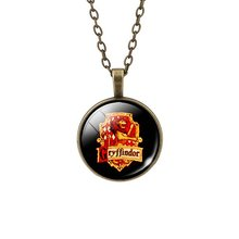 Fashion Bronze Silver Color Jewelry for Women Newest Harry Potter Necklace Glass Cabochon Statement Chain Necklace