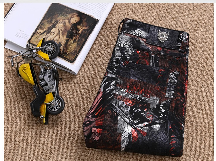 Jeans male fashion European and American style mens nightclub biker print slim pants joggers ripped jeans  brand clothing