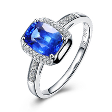 1.9 Carat VS Natural Sapphire Ring 18Kt Solid gold Deep Ocean Dark blue color with Natural Diamond Around Collection Grade gem (China (Mainland))