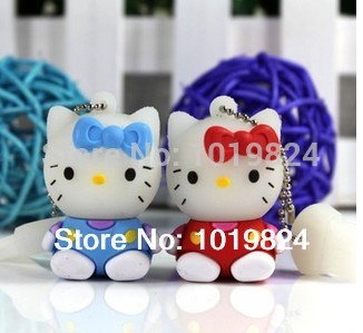 100% real capacity 4GB 8GB Cartoon sit position kt cat lovely USB Flash USB Flash Drives Pendrive USB Memory pendriveping N13(China (Mainland))