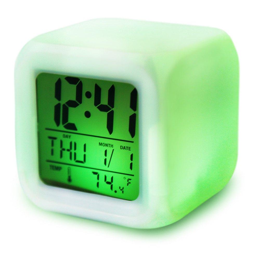 Promotion! Cute 7 Colour Backlight Modern Digital Alarm Clock Desk Gadget Digital Alarm Thermometer Night Glowing Cube LCD Clock(China (Mainland))