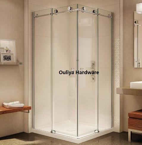 Free shipping SS304 frameless glass sliding shower door set hardware in Satin finish(China (Mainland))