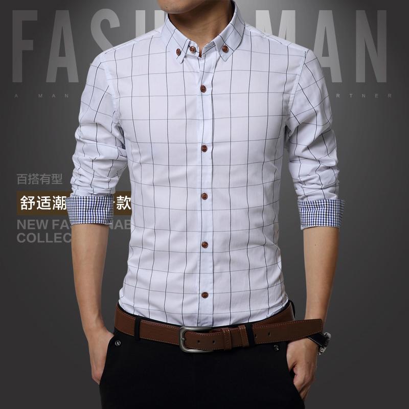 New 2015 Summer British Shirt Mens Slim Fit Man long Sleeve Shirts Men s Clothing Slim