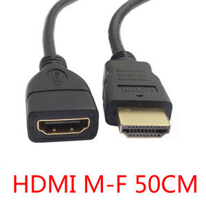 HDTV HDMI A Type Male to HDMI Female Extension Cable 50cm Gold Connector HD-027-0.5M-BK