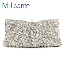 Milisente 2015 High Class Middle East Rhinestone Clutch Purse Silver Crystal Evening Bags
