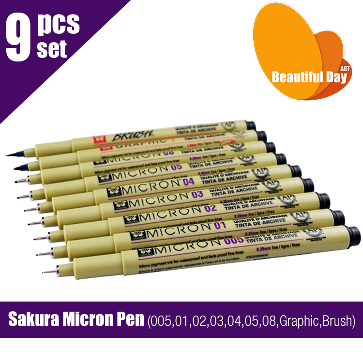High Quality Sketch Fine Liner,Sakura Micron Pen 9 pens/set (005,01,02,03,04,05,08,Graphic,Brush)