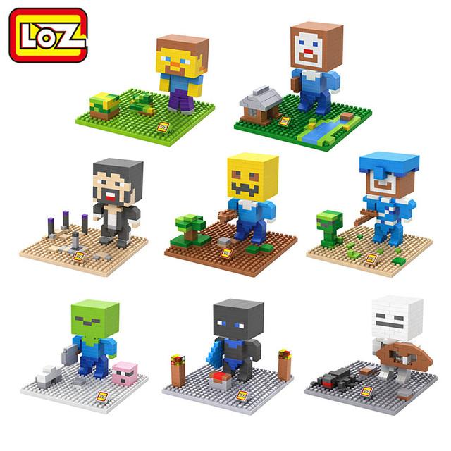 Loz алмазные строительный блок игра песочницы стив алекс зомби скелет игрушка модель Creat мира день рождения детский день подарок