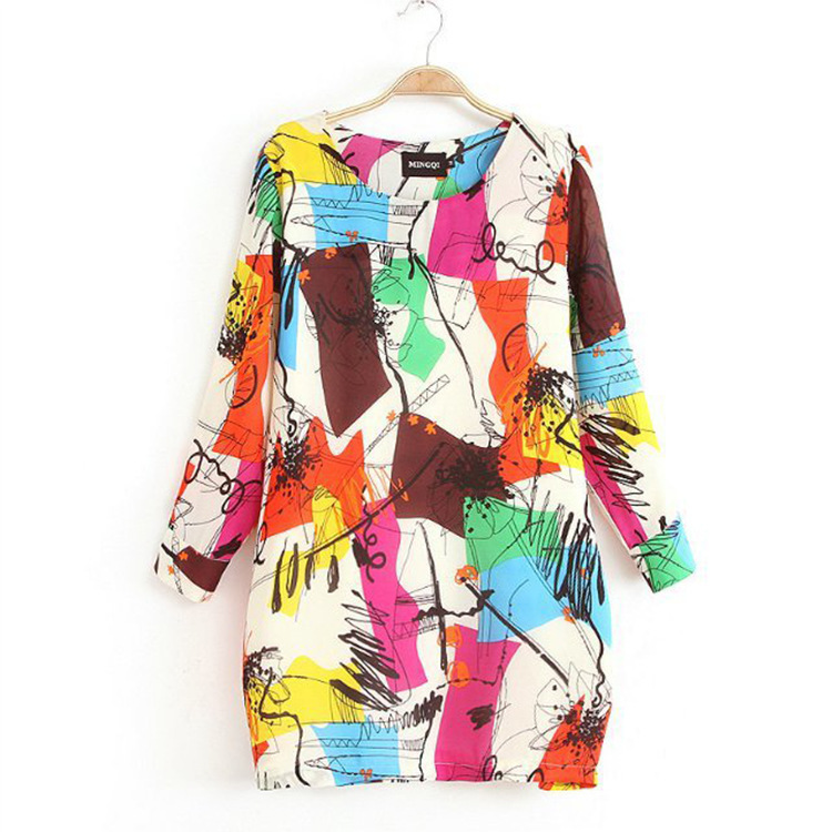 2015 Plus Size M--xxxl New For Graffiti Colorful For Impressionism Painting Artist Mini Slim Casual Women Blouse Dresses Xy2570(China (Mainland))