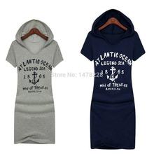 Fashion Casual Print Cotton Hood Bodycon Loose Dresses Knee Summer Sports Dress High Quality(China (Mainland))